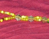 "16"" Yellow & Brass Butterfly Beaded ID Lanyard - FREE SHIPPING"