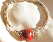 Sterling Wire Wrapped Bracelet with Red Clay Designer Focal