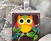 Scrabble Tile Pendant Owl Pendant Owl Necklace With Silver Ball Chain (A1565)