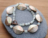 Shell and Aquamarine necklace - BeadleBot