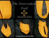 Never-ending Infinity Scarf (neckwarmer, cowl, mustard, yellow, gold) - Ready to Ship