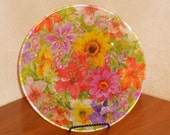Decorative Decopage Glass Plate  SPRINGTIME FLOWERS Semi Transparent Decoupage  10 1/2""