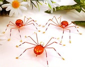 Three Hanging Spiders Handmade Orange Red and Yellow - SpiderwoodHollow