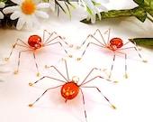Three Hanging Spiders Handmade Orange Red and Yellow - SpiderwoodHollow