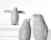 Silver Penguins Wedding Party Decor in Winter Glitter for Entertaining Table Settings, Nursery Decor or Home Decoration