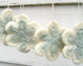 Christmas Snowflake Ornaments/Decorations in White and Ice Blue with Sparkle Yarn