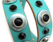Leather Dog Collar in Aqua with Black Industrial Dots, Size XL, Large Dog, Pet Accessories, Eco Friendly, Unique, OOAK