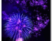 Set of 4 four Happy New Year cards fireworks photos purple blue green and red 5x7
