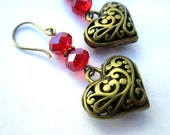 Heart Earrings with Czech Red Crystals - Holiday Love