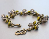 Chartreuse and Coffee Quartz Beaded Bracelet with Antiqued Gold