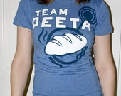 Women's Hunger Games Team Peeta T-Shirt with Bread Graphic, Blue, SIZE SMALL