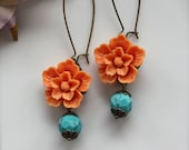 Summer In Bloom II  - A Bright Orange Sakura Flower with Howlite Gemstone Beads Earrings.  Cheerful. Summer. Gifts for Mom