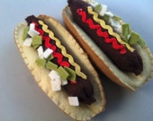 Felt Food Hot Dog Play Kitchen Waldorf Inspired All Wool Hand Sewn with Works