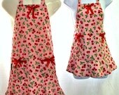Aprons Mommy & Me Set, Life is Just a Bowl of Cherries, Red Pink White Dots, Mother Daughter, Fun Ruffle Kitchen Gift