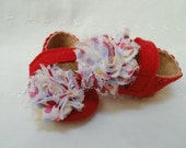 Baby Girl Shoes, Polka dot, Red, Shabby Roses, MaryJane's