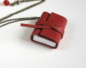 Cranberry Red Journal Necklace - Hand Stitched & Leather Bound