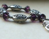 Silver and Purple Bracelet  Pewter and Glass