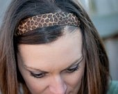 Womens athletic workout exercise NO-slip headband -1'' brown cheetah print-Perfect Stocking stuffer