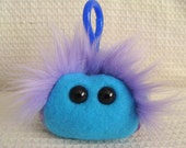 Mini monster plush keychain, purple and blue plaid fleece, Petey the Posh