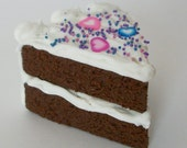 "American Girl Cake Slice Chocolate cake with White Icing and Pink Purple Blue Hearts and Sprinkles - Perfect for 18"" dolls"