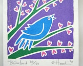 Valentine Spring Bluebird singing on heart flower branch Spring - one blank greeting card
