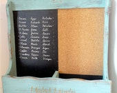 TEAL SHABBY CHIC Market Minder, Shopping list, organizer and memo board