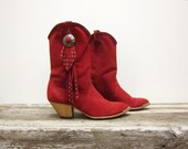 Red Cowboy Boots Suede with Studded Fringe Women's Vintage Size 7