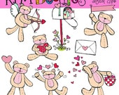 Valentine bears digital clip art