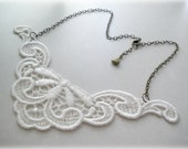 Leaves and Flowers Garland- Lace Necklace -white, ivory , romantic, lacy, doily. gift for her.