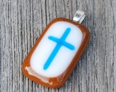 Turquoise Blue and Brown - Cross Pendant - Fused Glass Pendant - Christian Gift