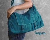 ASTER in Teal // Everyday Canvas Bag handmade by Luckycann // Sale