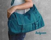 ASTER in Teal // Everyday Canvas Bag handmade by Luckycann // Sale