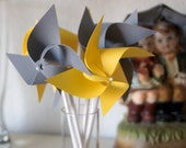 Wedding favor Yellow/Grey -12 Mini Pinwheels (Custom orders welcomed) - aubabi78