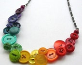 Rainbow Spectrum Vintage Buttons Big Bright Colorful Statement Bib Necklace