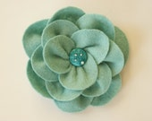 Felt Brooch pin in Aqua Handmade