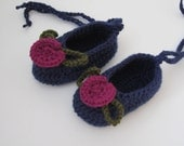 Crocheted Baby Ballerina Style Booties - Blue with Magenta Flower - Fits 6 to 9 months