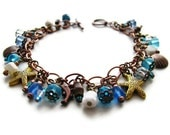 Shell and Starfish Charm Bracelet in Ocean Blue, Copper, and Brass OOAK -Seaside - heversonart