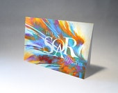 Card, Soar on Wings Like Eagles, Blank, Rainbow, Inspiration, Encourage, Soar, Fly, Hope, Faith, Eagles, FREE SHIPPING, Scripture, Bible