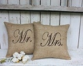 Mr and Mrs Large size Burlap pillows