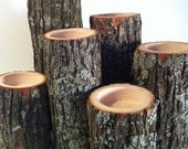 Tree Branch Candle Holders Rustic Cande Sticks Log Candles Repurposed Wood
