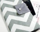 Travel Passport Wallet in Gray Chevron Zig Zag - GracieDesigns