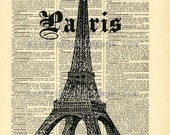 Paris PRINT on Vintage Dictionary Page - Upcycled Art 8 x 10 Print (No. P116)