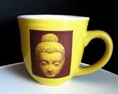 Ceramic Yellow Buddha Face Mug - 16 Oz.