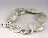 Labradorite Slab Bracelet, Sterling and Crystal Accents, Grey and Silver - OzmayDesigns