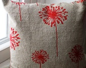 12x12 Red Dandelion Pillow Cover - KelsCozyCorner