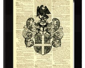 Eagle Shield Armor Antique Ex Libris Printed on Antique 1890's Oversized Dictionary Page