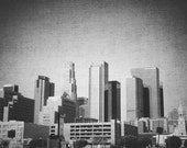"Los Angeles ""Downtown"" Black and White Photography Print, 8x10"" Fine Art Matte Print, Vintage Canvas-Texture Effect Photograph - AnnaDelores"