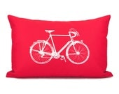 Red and white decorative pillow case - White vintage bike print on red cotton fabric - 12x18 lumbar pillow cover