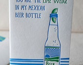 Mexican Beer Bottle Letterpress Greeting Card - Bamboo paper, patterned envelope. C4K3T