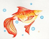 "Red Fish ORIGINAL Watercolor Painting Sea Creature Ocean Orange Red Yellow White Nautical Illustration 8""x10"" Nursery Room Decor Sale - NurseryRoomDecor"